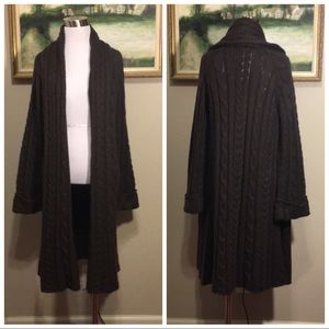 Soft Surroundings Brown Cable Knit Long Cardigan